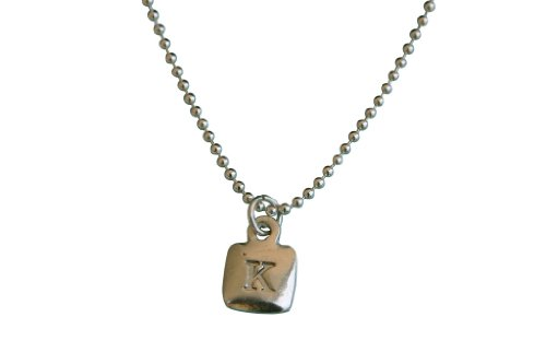 "Sterling Silver Mini Square Initial Charm Letter P Hand Stamped Pendant With 18"" Silver Bead Chain"