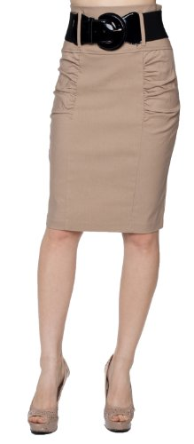 A.Sense Belted Classic Side Ruching High-Waisted Pencil Knee Skirt (Large, Taupe)