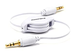 Monoprice 106754 2.5-Feet Retractable Audio Cable - White