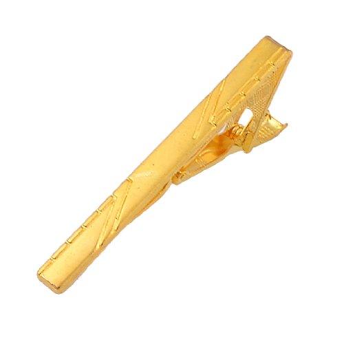 Men Gold Tone Stripe Pattern Square End Wide Plain Finish Necktie Clip Clasp