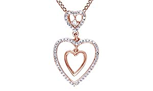 White Natural Diamond Double Heart Pendant in 10K Solid Rose Gold (1/6 cttw)