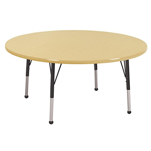 Ecr4kids 48 round activity table standard legs w ball glides maple top black legs general - Table glides for legs ...
