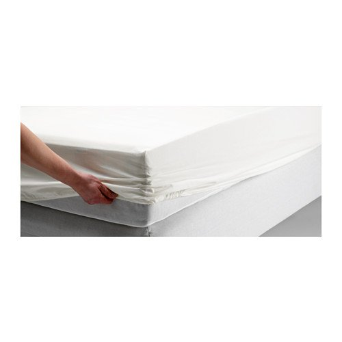 Ikea Dvala White Fitted Sheet 100% Cotton, Queen (Ikea Sheets Queen compare prices)