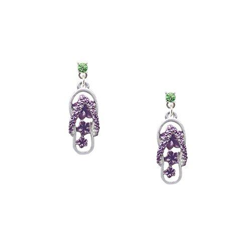 Purple Open Plumeria Flower Flip Flop - Lime Green Crystal Post Earrings