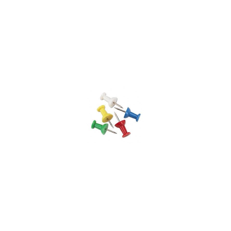 Plastic Head Push Pins, Assorted Colors, 100/Box GEMCPOA