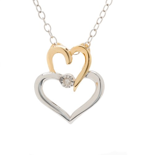 14K Plating Sterling Silver Two Tone Diamond Heart Pendant Necklace (H-I Color, I1-I2 Clarity, 0.01 cttw)