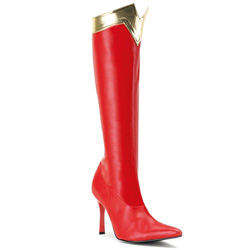 Womens Wonder Woman Boots Red Halloween Costume Shoes Gold Trim 3 3/4 Inch Heel