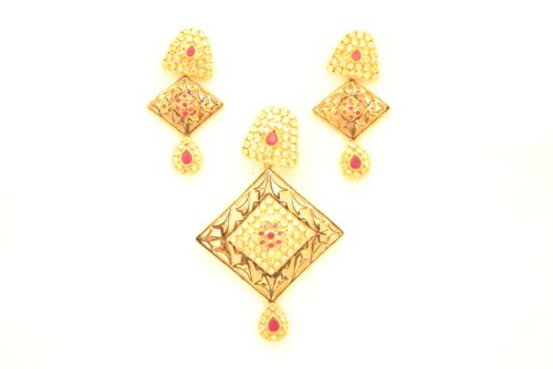 Fashion Balika Fashion Jewelry Gold-Plated Pendant Set For Women Gold-BFJER144 (Yellow)