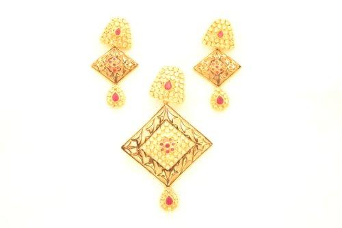 Fashion Balika Fashion Jewelry Gold-Plated Pendant Set For Women Gold-BFJER144 (Yellow)