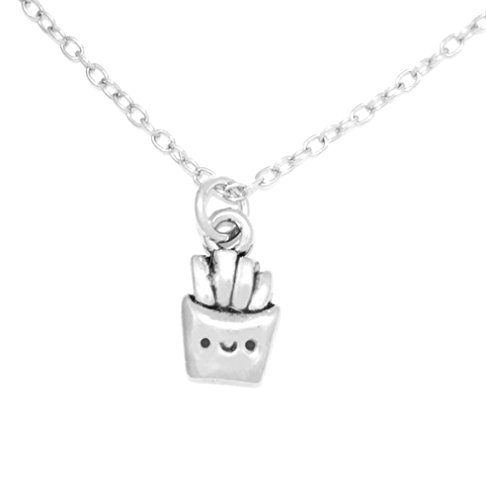 Clayvision Happy French Fries Charm Necklace with No Swarovski Crystal (French Fry Necklace compare prices)
