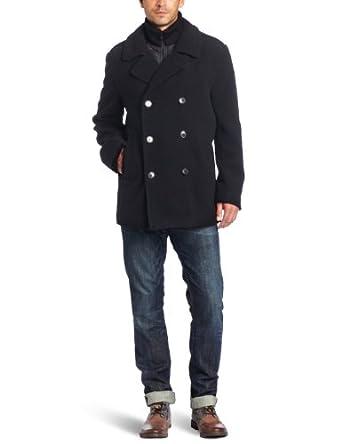 Calvin Klein凯文克莱男士双排扣男士羊毛混纺大衣Wool Pea Coat两色折后$93.39