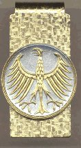 """German 5 Mark Silver Coin """"Eagle"""" Two Tone Gold on Silver World Coin Hinged Money Clip"""