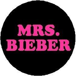 """MRS. BIEBER Pinback Button 1.25"""" Pin / Badge Justin Pink"""