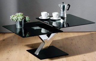 Premier Housewares 2 Section Coffee Table with Black Glass Table Top and Chrome Legs, 40 x 100 x 60 cm