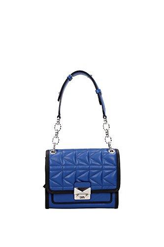 Borse a Spalla Karl Lagerfeld Donna Pelle Blu, Nero e Argento 61KW3019TRUEBLUE Blu 8x17x22 cm