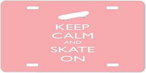 Rikki KnightTM Keep Calm and Skate On -Skateboard- Light Pink Color Design License Plate