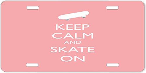 Rikki KnightTM Keep Calm and Skate On -Skateboard- Light Pink Color Design License Plate