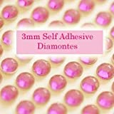 300 Rose Pink 3mm Acrylic Rhinestone Gems ~ Self Adhesive