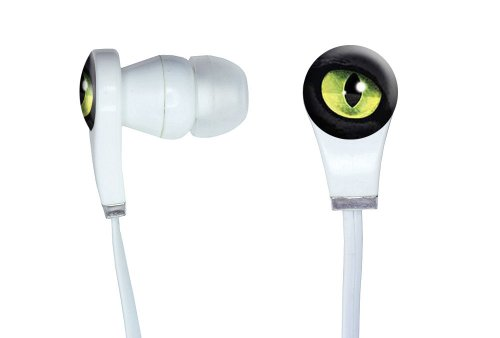 Graphics And More Cat Green Eye Novelty In-Ear Headphones Earbuds - Non-Retail Packaging - White