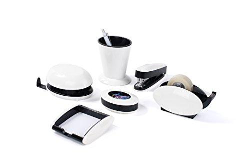 Pavo-Trendy-Schreibtisch-Set-6-teilig-Hochglanz-mit-Stiftekcher-Klammernspender-Locher-Heftgert-Zettelbox-und-Tischabrolle-wei