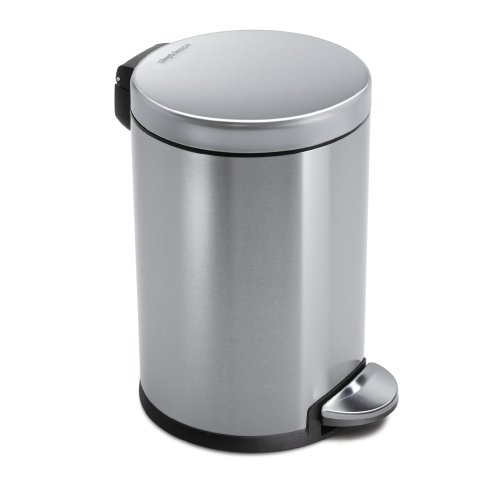 simplehuman Mini Round Step Trash Can, Stainless Steel, 4.5 L / 1.2 Gal (Bathroom Trash Can With Lid compare prices)