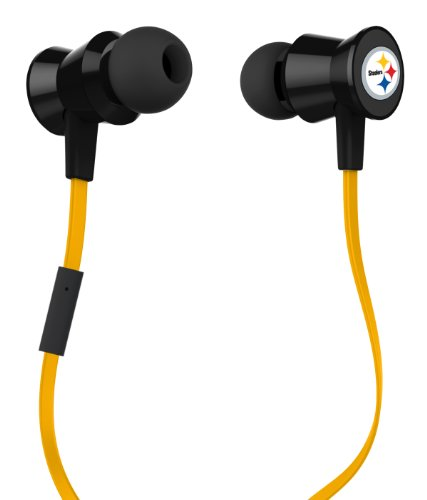 iHip NFL-PTM-PS Official NFL Pittsburgh Steelers Pro Metal Earbuds with Built-In Mic at Amazon.com