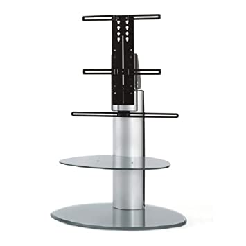 """Off The Wall Motion Grey TV Stand with Bracket Fits up to 55"""" TVs with Overhang"""