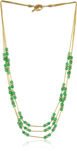 Gold Silk Green Agate 3 Strand Necklace