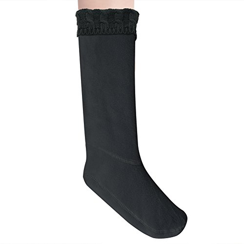 Anzermix® Women's Fleece Cable Knitted Liners Rain Boot Socks (M, Black) (Plush Boot Liner compare prices)