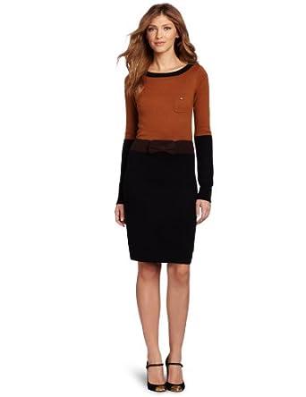 D.E.P.T. Women's Sweater Dress, Brown Cognac, X-Small