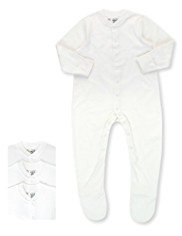 3 Pack Pure Cotton Skinkind™ Sleepsuits