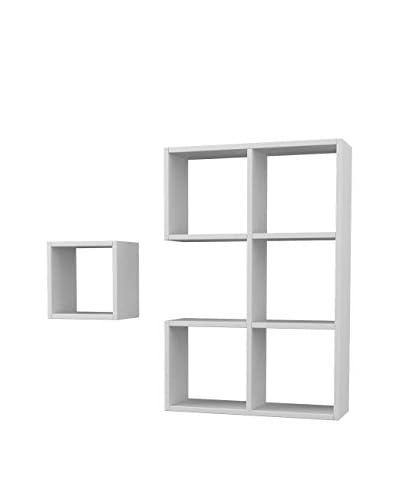 Homemania  Estantería 2 Piezas Pacman Blanco