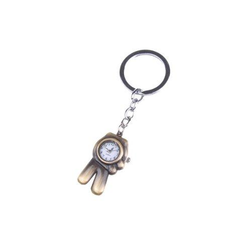 Bestdealusa Fashionable Fingers Quartz Pocket Stainless Steel Watc Key Ring Chain Gift