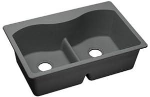 Elkay ELGLB3322GY0 Granite 33-Inch X 22-Inch X 9.5-Inch Double Bowl Top Mount Kitchen Sink, Dusk Gray