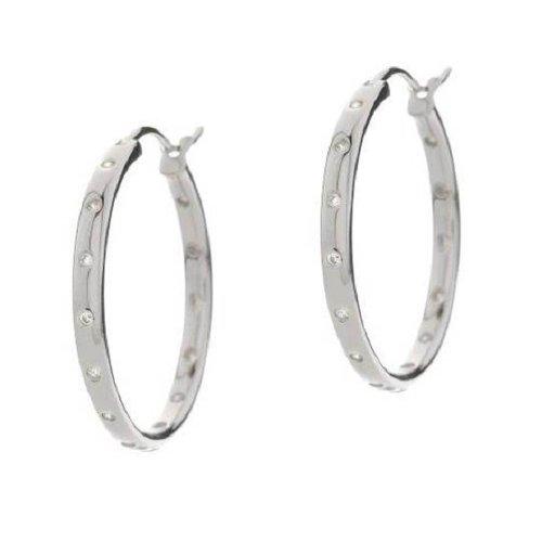 Sterling Silver Platinum Plated Inside Outside 0.25 ct CZ Hoop Earrings