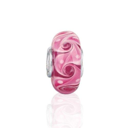 Bling Jewelry 925 Sterling Silver Swirl Murano Pink Glass Bead Pandora Compatible