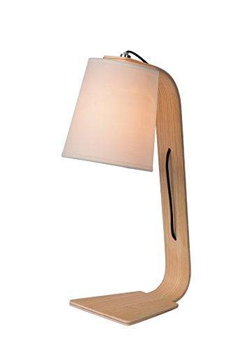 Lucide NORDIC Tischleuchte E14, 20 x 43 cm, Holz / schirm, weiß 06502/81/31