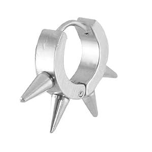 Woman Silver Tone Circular Cone Decor Mini Hoop Earrings Stud
