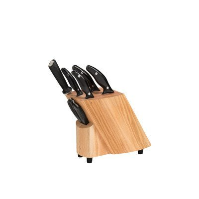 Stratus Culinary 7-Piece Ken Onion Rain Knife Block Set, Brown