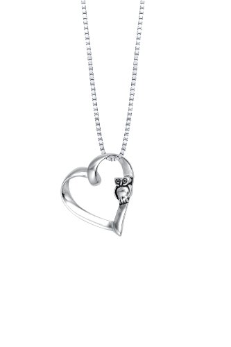Sterling Silver Open Heart Pendant Necklace with Owl, 18