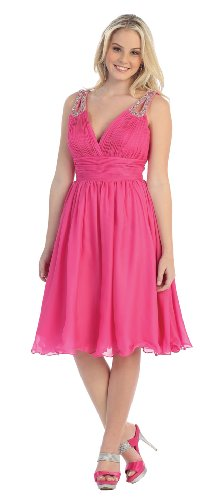 Formal Cocktail Party Short Prom Dress #622 (14, Hot Pink)