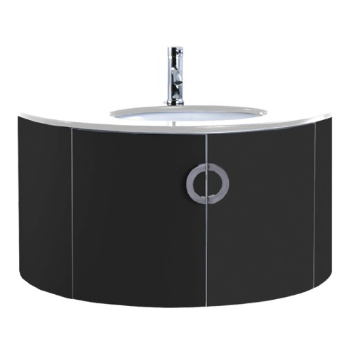 vienna 1000mm black gloss wall hung bathroom vanity unit by john louis bathrooms - Bathroom Cabinets Black Gloss