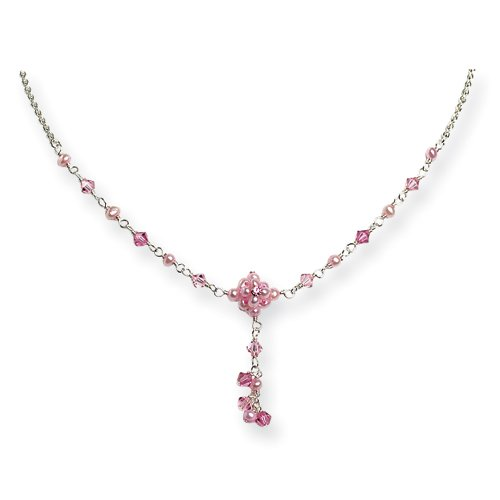 Sterling Silver Pink Cultured Pearl/Pink Crystal/Pink CZ Dangle Necklace - 16 Inch