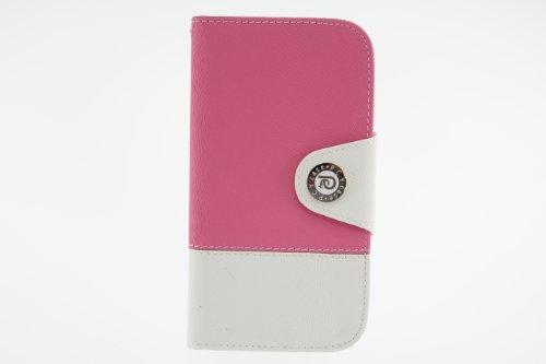 JAPAEMO Galaxy S4 (SC-04E) バイカラーデザイン フリップ型 カードケース ストラップホール 付き 全7色ドコモ ギャラクシーS4 ケース ピンク [JE00996]