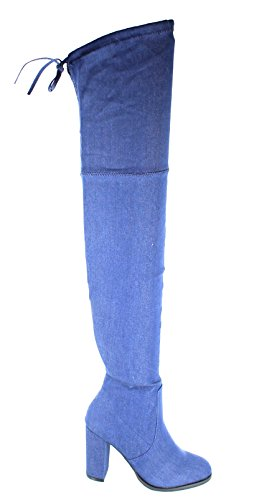Image of Urban Heels Women's BLUE-DENIM Stretchy Side Zip Up Thigh High Chunky High heel boots 9 US