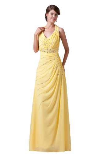 Graceful Halter Chiffon Goddess Long Gown Prom Dress Formal Bridesmaid 4537 18W Yellow