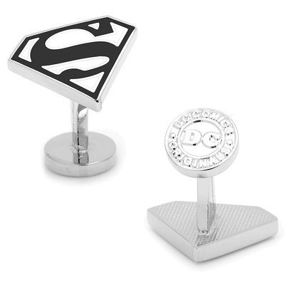 DC-Comics-Enamel-Black-and-White-Superman-Shield-Cufflinks