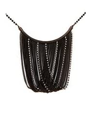 Just Women Victorian Style Beaded Metal Necklace (Black)