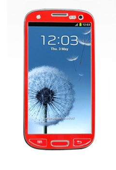 S3 Protection, Samsung Galaxy S3 I9300 Aluminium Full Screen Protective Sticker Skin Full Body Matte Anti Finger Anti Glare Screen Protector Guard Film For Luxury Looks Diamond Cutting Siii (Red)