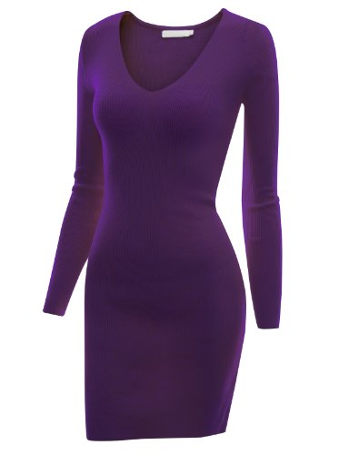 Doublju Women U Neck Back Lace Coll Fabric VIOLET Dress,M (Daphne Costume)